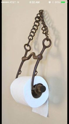 Horse bit toilet paper holder - we just made one for the barn