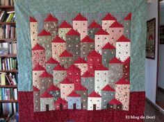 Patchwork Log Cabin, Crazy Patchwork, Log Cabin Quilts, House Quilt Block, Quilt Blocks, Country Quilts, Small Sewing Projects, String Quilts, Landscape Quilts