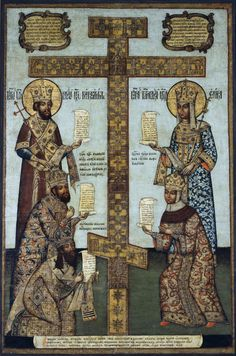 1670s Icon depicting The Cross of Kiy, a replica of the True Cross with holy relics commissioned by Nikon, Orthodox patriarch of Moscow, in 1656. On the left top to bottom are the images of Saint Emperor Constantine the Great, Tsar Alexey Mikhaylovich and Patriarch Nikon. To the right: Saint Empress Helena and Tsarina Maria Ilyinichna.