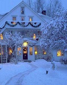 Winter farmhouse, garland everywhere, snow, lights on, very pretty. Christmas Scenes, Cozy Christmas, Country Christmas, Christmas Lights, Xmas, White Christmas Snow, Christmas Time, Vintage Christmas, Christmas Decorations