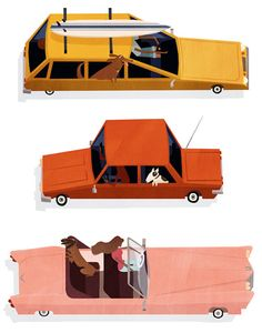 "the series ""Dogs & Cars"" by London illustrator, animator, and visual developer Emmanuelle Walker"