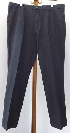 Mens Dockers Pants 38x30 Gray Dress Flat Front Charcoal White Striped #DOCKERS #DressFlatFront