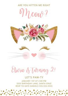 Kitten Birthday Invitation Invites Digital Cat Pink Gold
