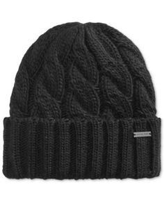 a22b2f4054d Michael Kors Men s Cable Cuffed Hat - Black Knit Hat For Men