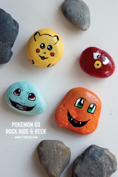 Pokemon Go Rock Hide and Seek - get the kids outside and having fun with these adorable painted rocks! Or leave them around town for the Pokemon Go players to find. #raok