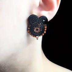 Heidi Bennett 'Rita' Black & Bronze Small Earrings (HB015) | Alexandra May Jewellery