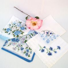 Hankies Lot Ladies Hankies Blue Florals by WhimzyThyme on Etsy