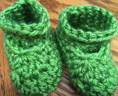 Handmade Crochet Girls' Spring Sparkle Shoes  - Green - NB to 3 months  #Handmade #FakeMaryJanes