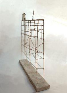 Modern Metal Sculpture Decorations - Feed My Design. Small Sculptures, Metal Sculptures, Paperclay, Assemblage Art, Monochrom, Miniature Houses, Wire Art, Little Houses, Installation Art