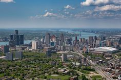 Detroit Skyline Aerial from the East Detroit Michigan, Detroit Skyline, Metro Detroit, Detroit Neighborhoods, My Kind Of Town, Aerial View, San Francisco Skyline, Scenery, Places To Visit