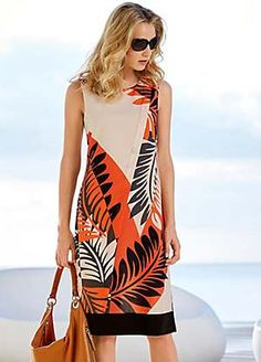 Tropical Leaf Placement Print Shift Dress
