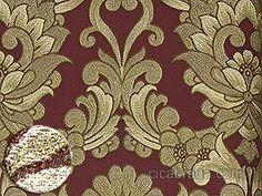 Ciça Braga - Papel de parede   Papel de Parede Vnílico Fili Dóro (Italiano) - Colonial (Bordô/ Dourado/ Bege/ Detalhes com Brilho Glitter) - COLA GRÁTIS