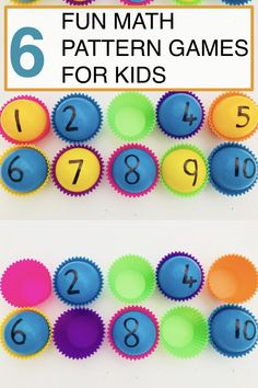Use colourful plastic play balls and cupcake cases to set up this quick and easy learning game. With these two items alone you can play any one of our 6 fun math pattern games with your kids. It's a very visual and tactile way for kids to practice orderin Number Games For Toddlers, Number Games Preschool, Numbers For Kids, Fun Math Games, Kindergarten Learning, Learning Numbers, Math Activities, Math Numbers, Preschool Learning