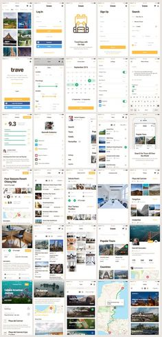 Trave UI Kit is an great mobile UI Kit packed with over 30 carefully crafted screen layouts, designed at 750x1334px in Sketch & for Sketch . Trave is an excellent assistant for the fast creation of your project. Each layout was based on modern design trends for Travel Apps.