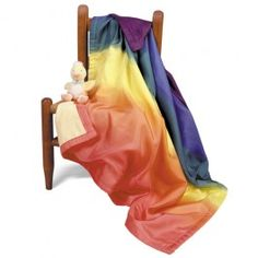 Rainbow Silk Baby Blanket. Rainbow dyed silk on on side, lined with soft flannel on the other. $59.95