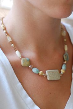 Fossilized Coral Beaded Necklace - Cream and Aqua Necklace - Beaded Jewelry - Semiprecious Stone Jewelry - Anchor of Home Designs