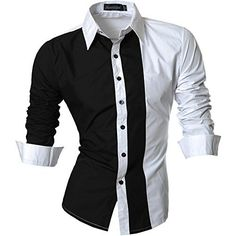 jeansian Men's Slim Fit Long Sleeves Casual Shirts W. Mens Long Shorts, Casual Button Down Shirts, Casual Shirts, Only Shirt, Men Dress, Shirt Dress, Slim Fit Dress Shirts, Mens Attire, Men Design
