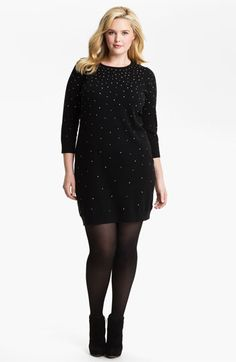 MICHAEL Michael Kors Studded Sweater Dress (Plus)  0ddc77808fbd