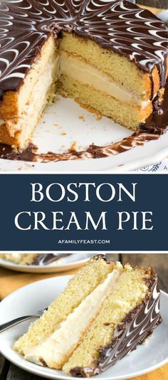 Boston Cream Pie – A Family Feast® Boston Cream Pie is a buttery yellow sponge cake, filled with creamy custard, and topped with a chocolate ganache. Cream Pie Recipes, Cake Recipes, Dessert Recipes, Lemon Desserts, Cupcakes, Cupcake Cakes, Esterhazy Torte, Boston Cream Pie, Boston Cream Cakes