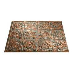 18 in. x 24 in. Traditional 1 PVC Decorative Backsplash Panel in Bermuda Bronze, B50-17 at The Home Depot - Mobile