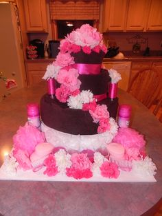 The towel cake I made for my friend Krystle's Bridal Shower!