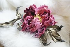 """Купить Украшение из кожи """"Pink rose"""" - розовый, итальянская кожа, итальянская замша, натуральная кожа"""