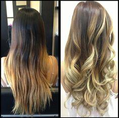 Brunette to blond balayage