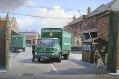 """""""Another Mike Jeffries this time a 2 axle box bodied Bedford of Atlas Express leaving the depot. Nostalgic Pictures, Nostalgic Art, Road Transport, London Transport, Vintage Trucks, Old Trucks, Transport Pictures, Bedford Truck, Old Lorries"""