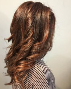 medium+length+wavy+auburn+balayage+hair