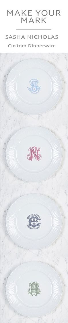 Enhance your tablescapes with these beautiful white porcelain dishes. Add a monogram for a nice personal touch. Choose from our signature font styles or your own custom monogram at https://www.sashanicholas.com/shop-all/weave-monogrammed-dinner-plate/ | Dinnerware Monogrammed | Tablescapes | China | Wedding Registry