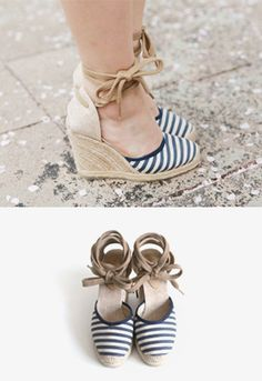 Today's Hot Pick :Striped Wedge Espadrilles http://fashionstylep.com/SFSELFAA0012926/iriscccen/out Walk in utmost comfort with these striped wedge espadrilles. These feature round toes with raffia toe boxes, self tie wrap around straps, and raffia covered soles. These sandals are great for long walks and wear these with equally comfortable round neck t-shirt with shoulder cutouts plus stripe print shorts. - Self tie closure - Round toes - Stripe print - Multicolored