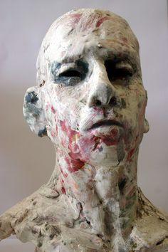 Stephen Dillon Keramik,  Head, Stoneware, Engobe, Underglaze, Oxides, Glaze, ca. 50cm, 2008