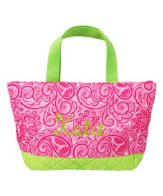 Hot Pink Paisley Personalized Quilted Tote by Thread Art #zulily #zulilyfinds
