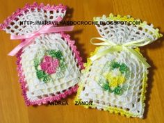 Crochet Sachets: picture tutorial.  Would be pretty in Christmas colors...