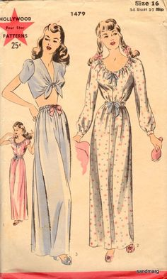 Hollywood 1479 Misses Bra Top Skirt Nightgown Pattern Lingerie Womens Vintage Sewing Pattern Size 12 Bust 30 FF Pin Up Lingerie, Vintage Lingerie, Purple Lingerie, 1940s Fashion, Vintage Fashion, Edwardian Fashion, Gothic Fashion, Vintage Dresses, Vintage Outfits