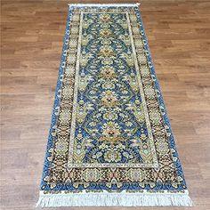 Camel Carpet Floral Silk Handmade Yellow and Blue Persian Runner Rugs 2.8'x8' http://www.amazon.com/dp/B01DP9V1Q4/ref=cm_sw_r_pi_dp_0Gbixb0ANC94X