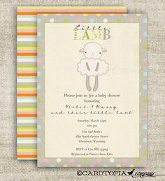 Lamb GIRL BOY BABY Shower Invitations Vintage Shabby Chic Gender Neutral Digital diy Printable Pink Blue Yellow Gray Grey - 124110747 on Etsy, $14.00