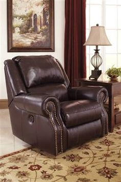 Walworth Traditional Classics Blackcherry Leather Rocker Recliner