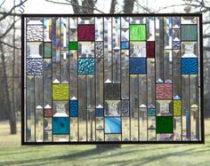 Available for custom order: Blue Bevels I Stained Glass Panel