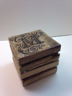 Rustic Personalized Pallet Wood Coasters with Single Letter by kenziesreclamation on Etsy https://www.etsy.com/listing/217342715/rustic-personalized-pallet-wood-coasters