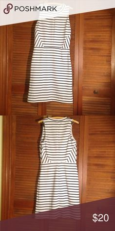 Old Navy Sheath Dress Tall size. White with navy blue stripes. Side zipper. Hits above the knee. Old Navy Dresses