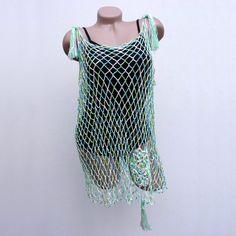 Crochet mesh top Green knit tank top Loose boho by CleopatraArt