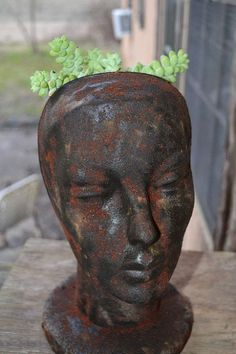 Hometalk :: Faux Rusty Cast Iron Head Planter