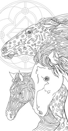Coloring pages Printable Adult Coloring book Horse by ValRa