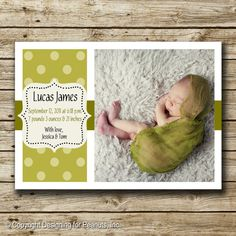 Photo Birth Announcement Card printable by designingforpeanuts, $15.00