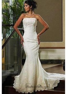Beautiful Elegant Tulle Mermaid/trumpet Strapless Wedding Dress In Great Handwork
