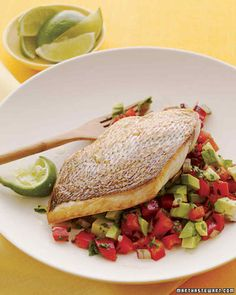 While this salsa is a natural pair with firm fish such as snapper, it works equally well with chicken or pork.