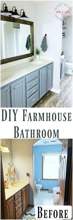 DIY Fixer Upper Bathroom on a budget. Farmhouse bathroom makeover ideas and tutorial! #BathOnABudget Ad
