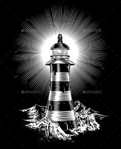 Buy Lighthouse and Waves by Krisdog on GraphicRiver. An illustration of a black and white monochrome lighthouse Lighthouse Clipart, Lighthouse Sketch, Lighthouse Painting, Nautical Clipart, Nautical Art, Nautical Tattoos, Wave Drawing, Nature Drawing, Ancora Old School
