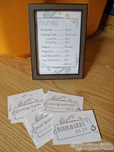 FallenPeach, Photography, Graphic Design and Fine Art: Craft Fair Prep: Pricing Sheet / Signs Craft Stall Display, Craft Show Booths, Craft Booth Displays, Craft Show Ideas, Display Ideas, Display Stands, Vendor Displays, Vendor Booth, Vendor Table
